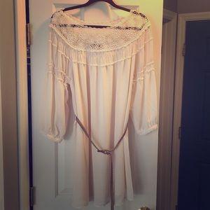 Beautiful cream dress with belt